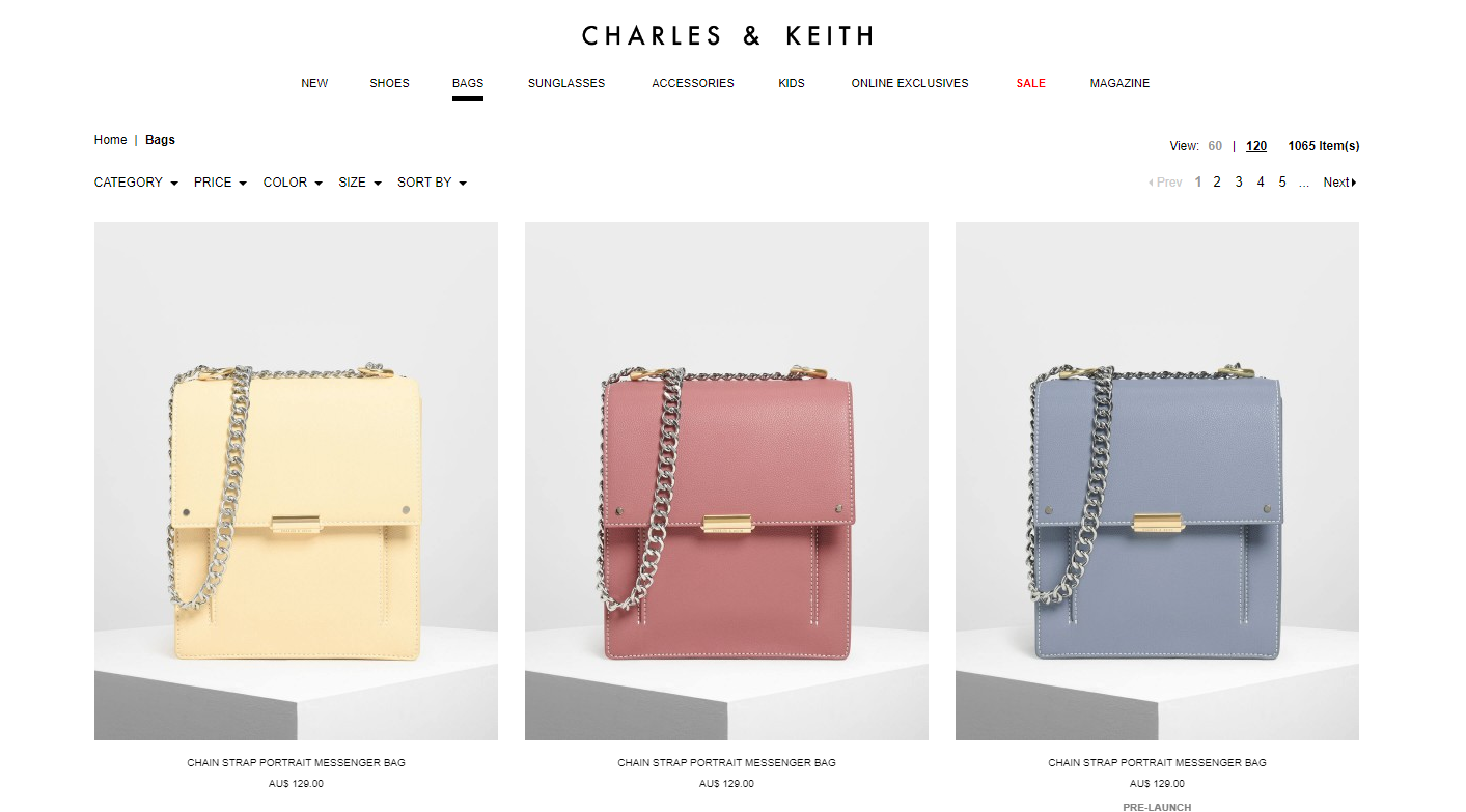 Charles & Keith bags page