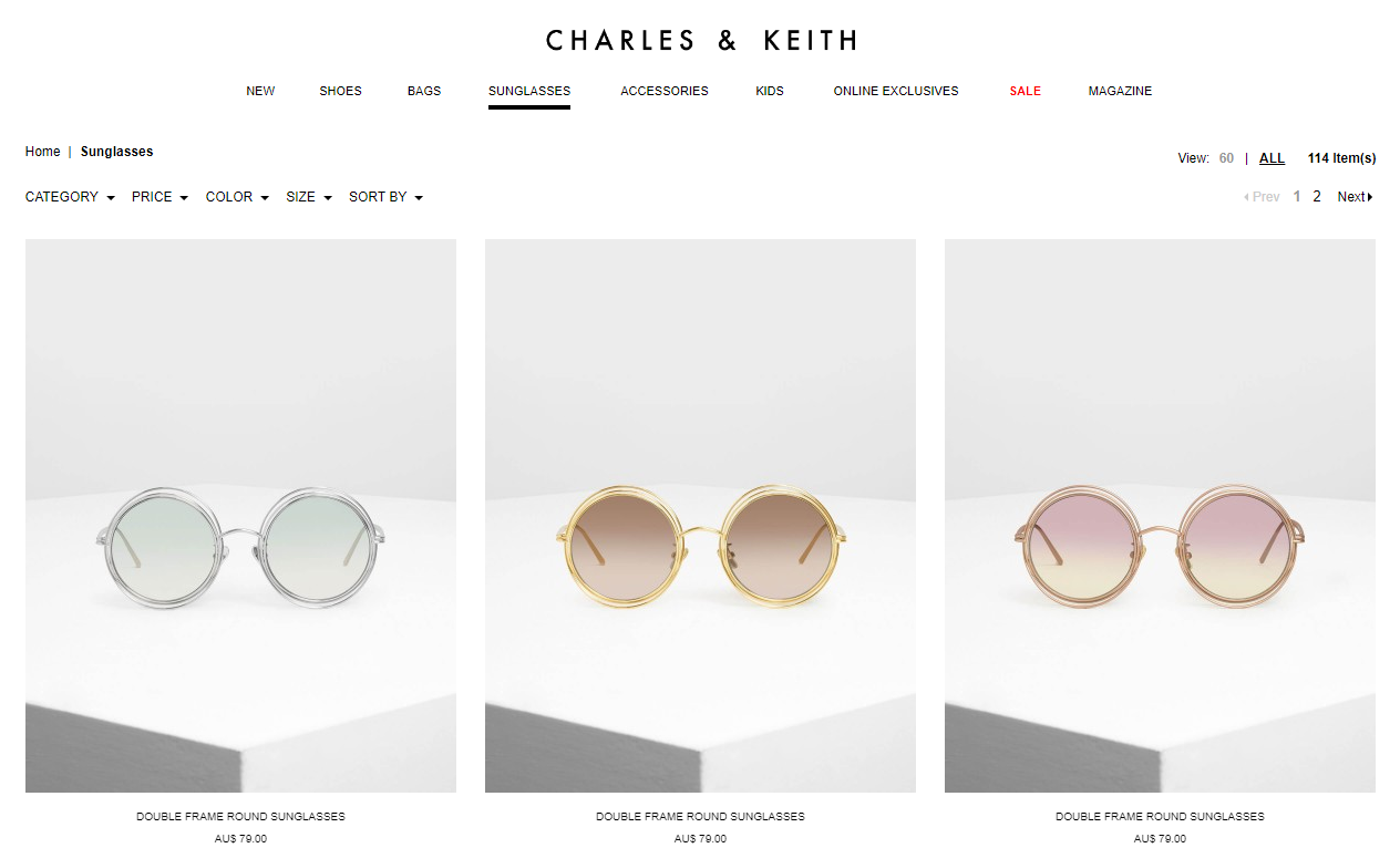 Charles & Keith sunglasses page
