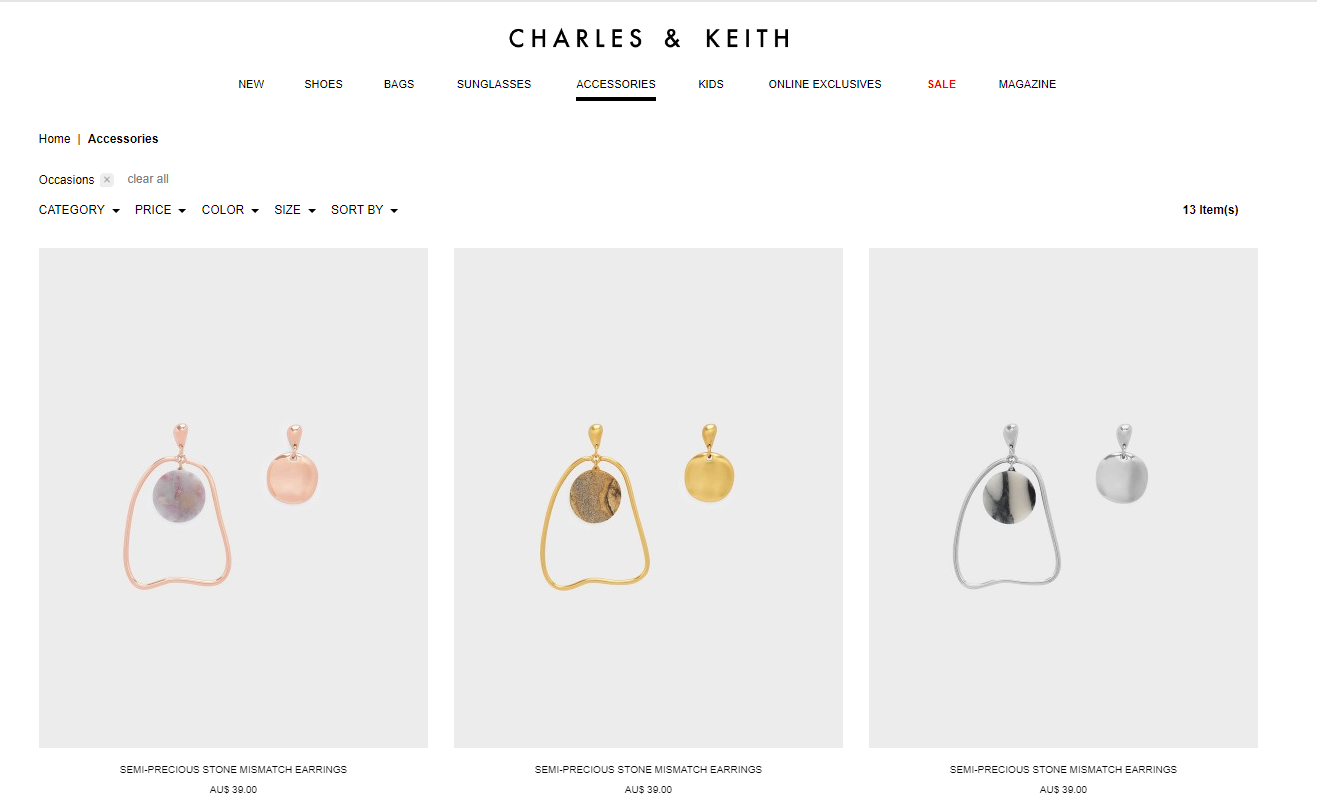 Charles & Keith accessories page