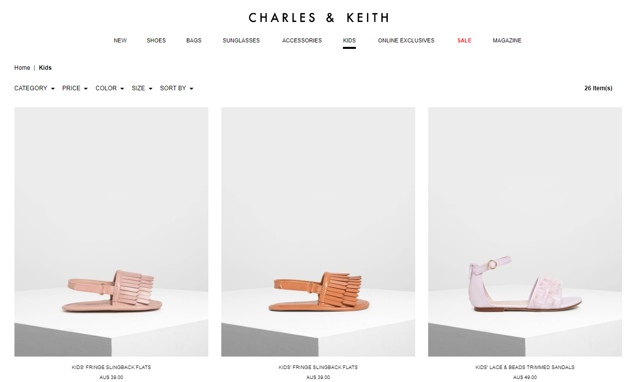Charles & Keith kids products page