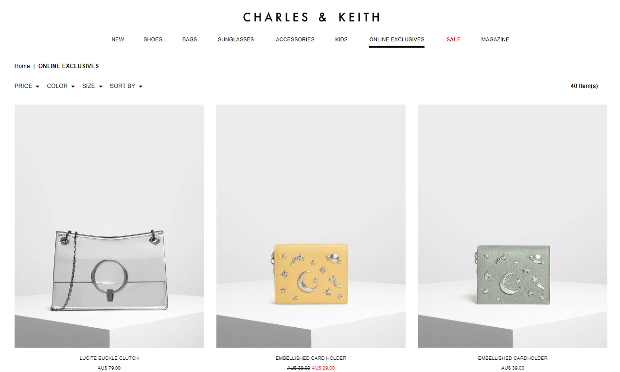 Charles & Keith Online Exclusives page