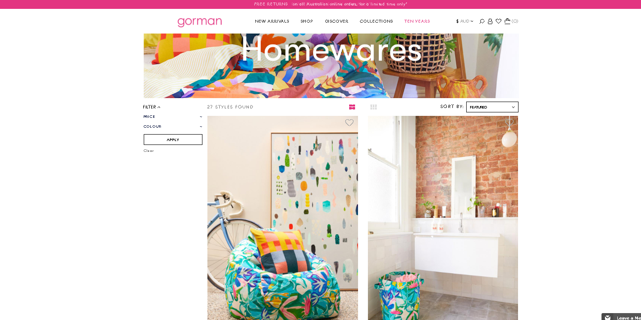 Gorman homewares page