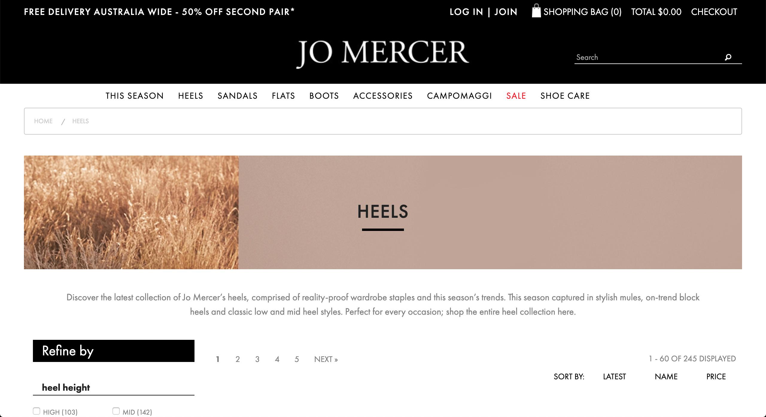 Jo Mercer heels page