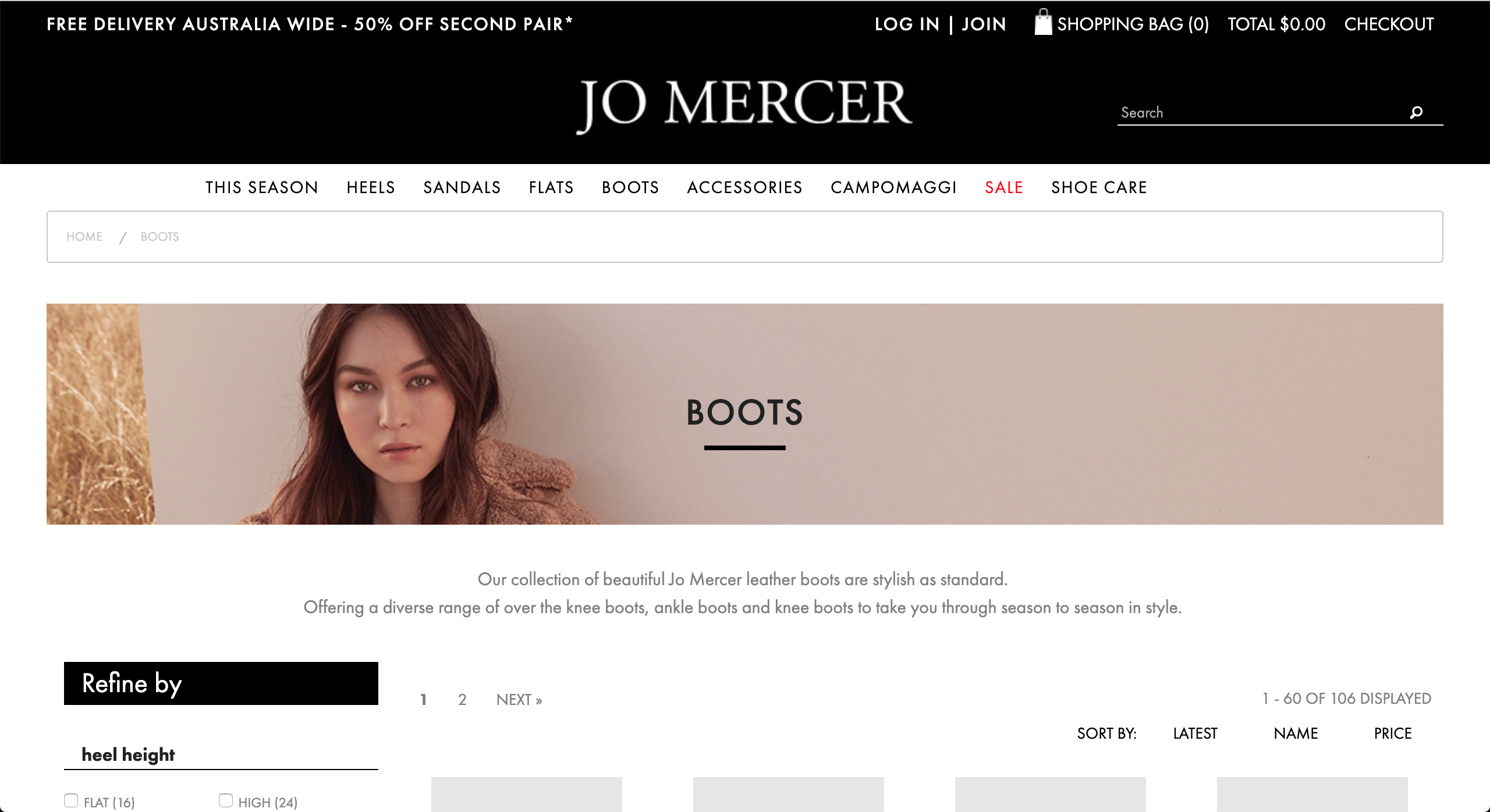 Jo Mercer Boots page