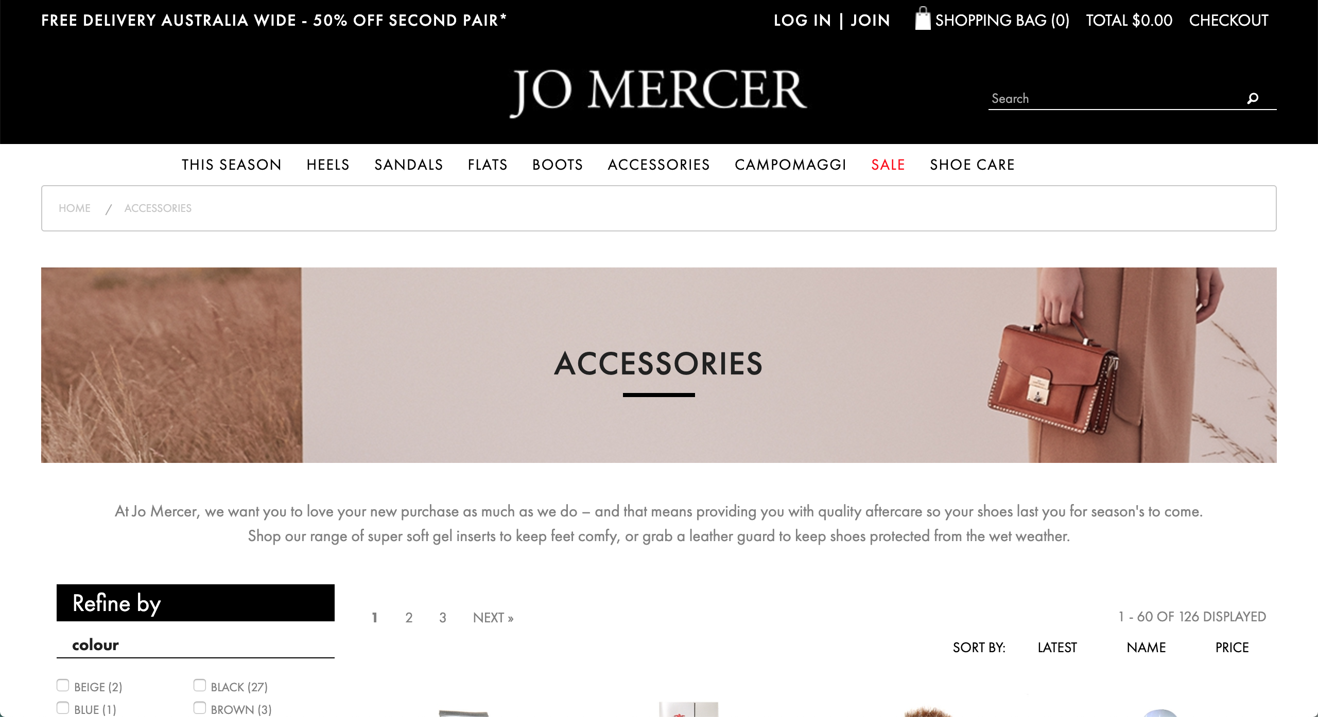Jo Mercer accessories page