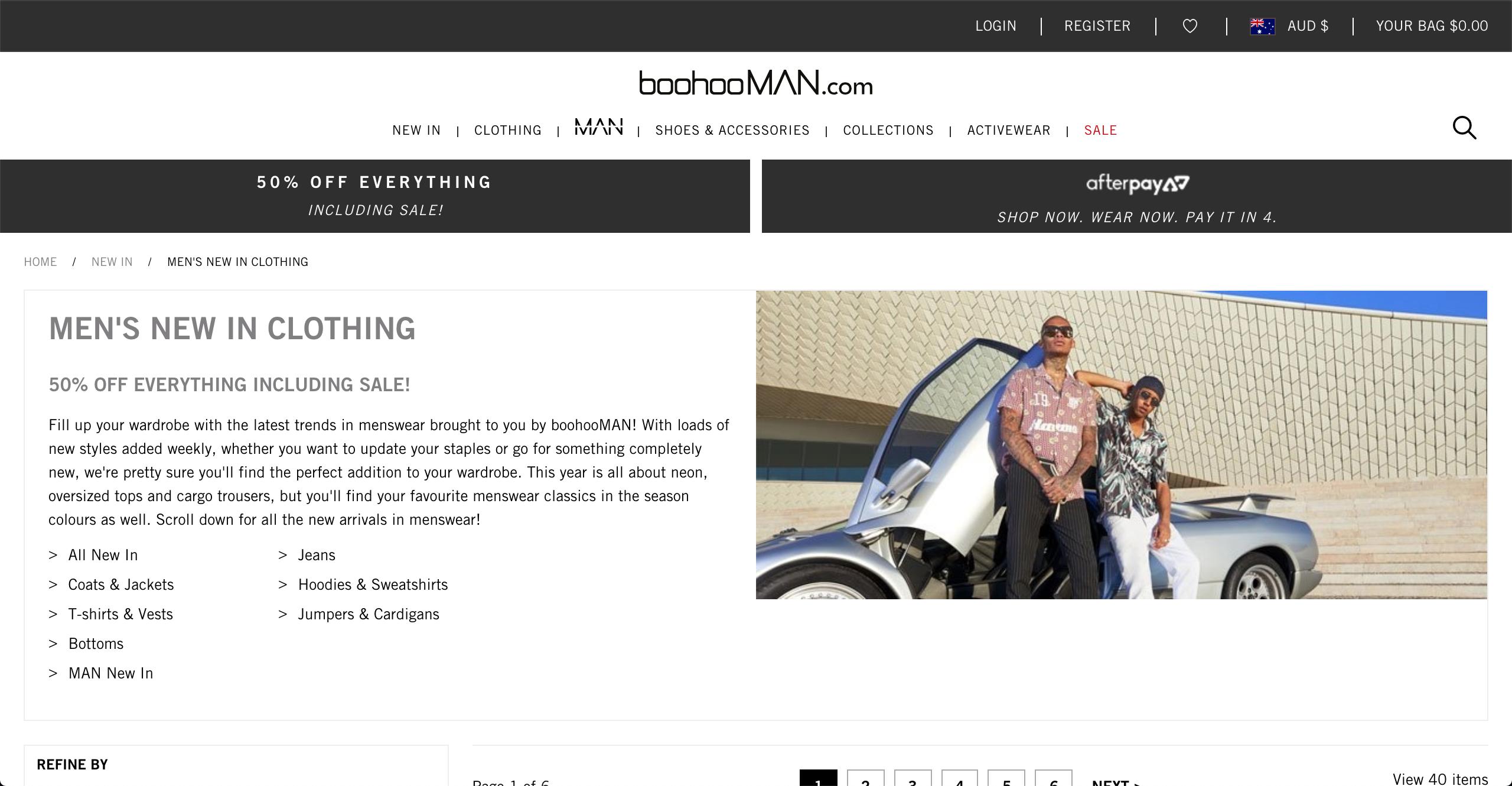 boohooMAN clothing page