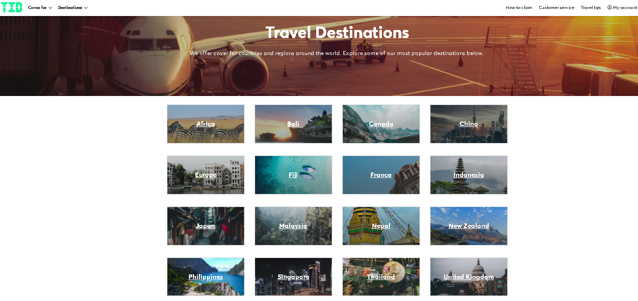 Travel Insurance Direct destinations covered
