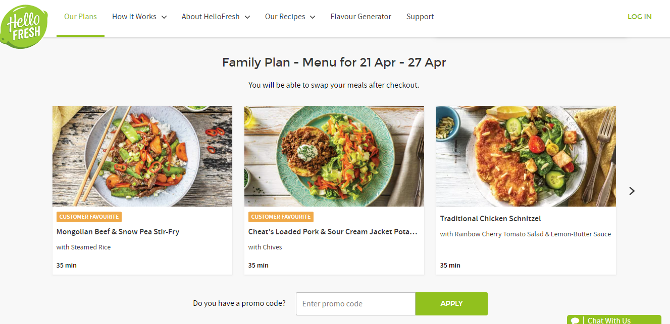 HelloFresh family plan