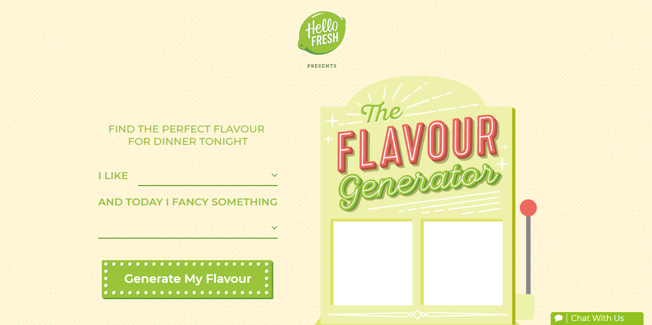 HelloFresh Flavor Generators