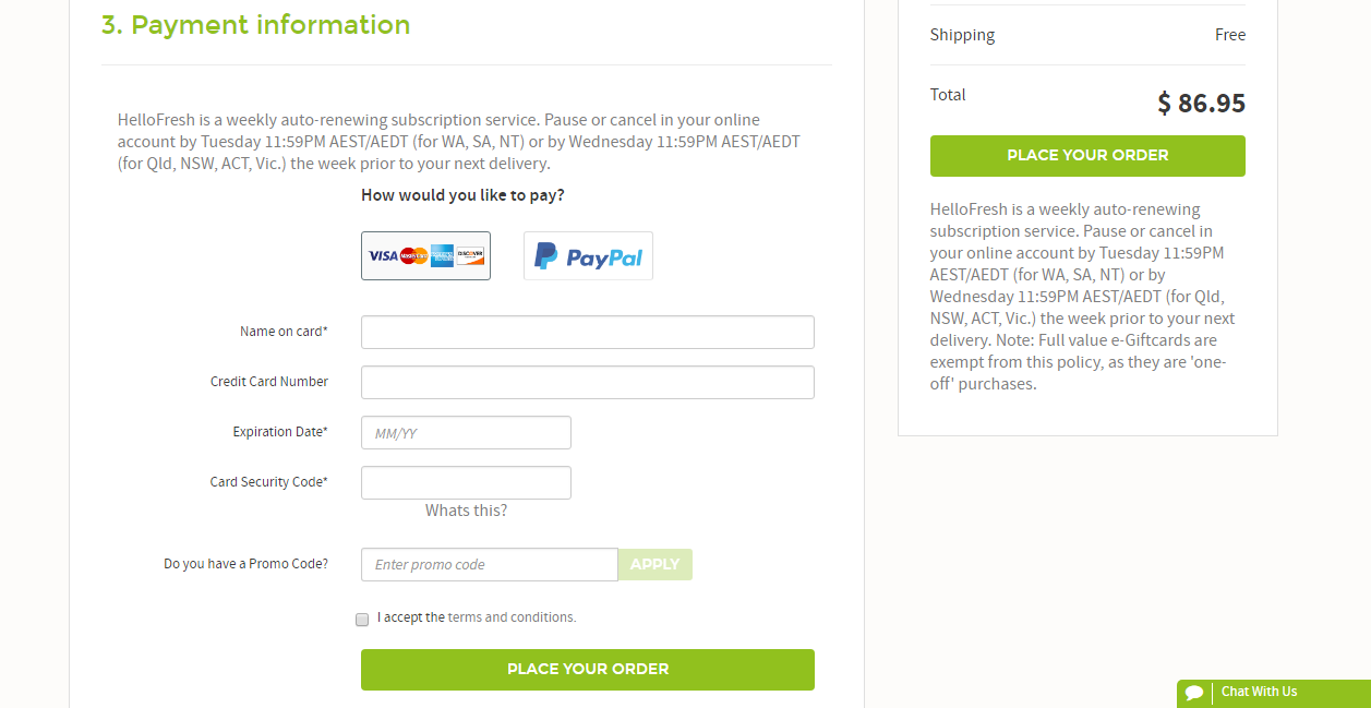 HelloFresh payment methods