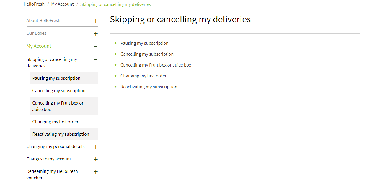 HelloFresh Cancellation Policy